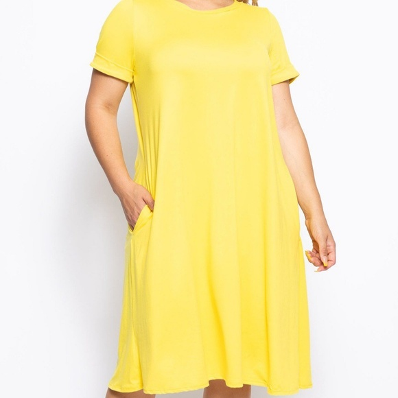 Comfy Yellow A-Line Dress with Pockets Plus Size Boutique